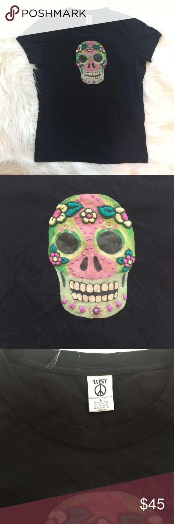 Rare Lucky Brand Candy Skull Top Large Tee Candy skull short sleeve tee by Lucky Brand. Great design and embroidery on this rare and hard to find top! Size large. Lucky Brand Tops Tees - Short Sleeve