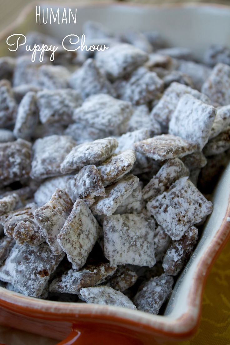 Human Puppy Chow-Chex Mix Recipe Just five ingredients and ten minutes are needed to make puppy chow, a sweet kid-friendly dessert. This sweet crunchy snack is the perfect snack for hungry humans!