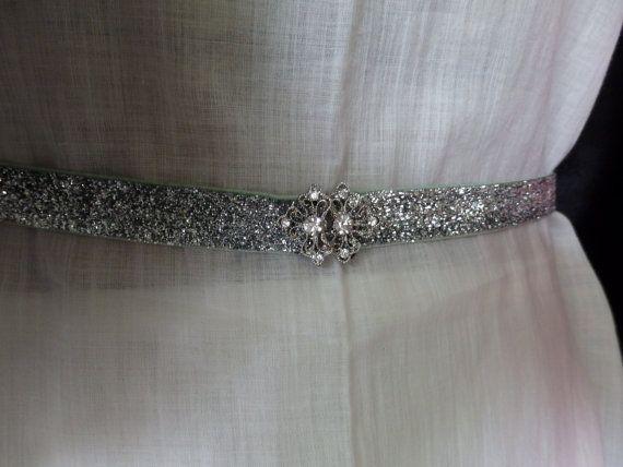 Prom belts glitter belts skinny belts silver stretch for Sparkly wedding dress belt