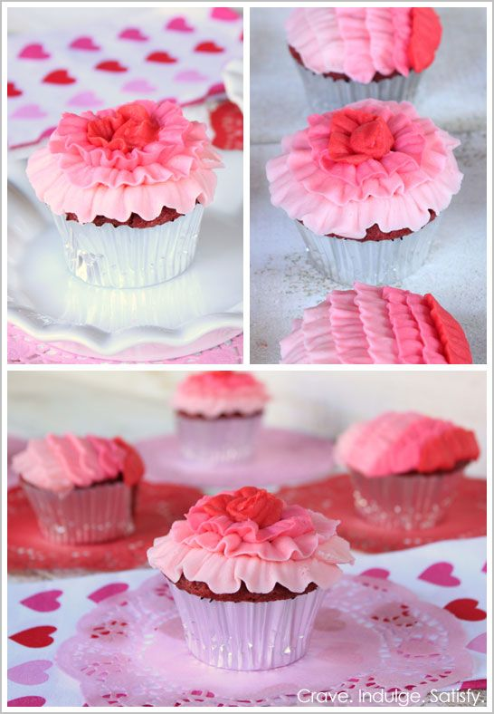 Half Baked - The Cake Blog - Ruffled buttercream cupcakes.  Tip 104 and red food coloring.  Use Americolor Super Red, CKs Tulip Red, or Wilton's No Taste Red coloring to avoid that nasty red taste.