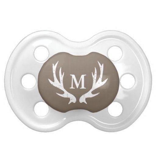 Vintage deer antler baby pacifier with monogram
