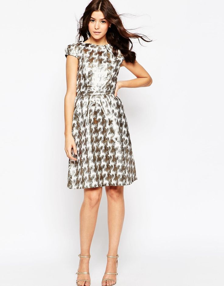 Little Mistress Fit and Flare Dress in Metallic Dogtooth Print