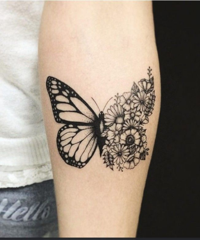 Pretty Butterfly With Flowers Butterfly Tattoos For Women Tattoos Butterfly Tattoo