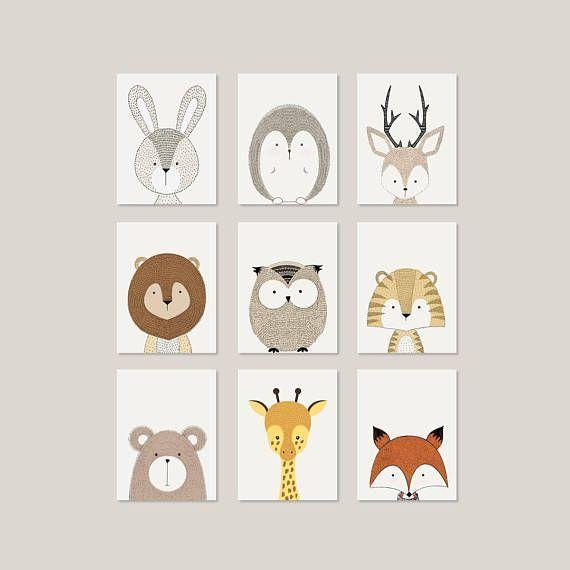 Wall art in the nursery #wall design #kinderzimmer # creativity # animals # pictures