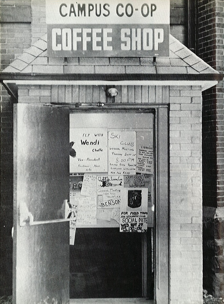 Campus co-op coffee shop at the University of Guelph, 1968.