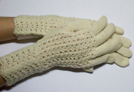 Hand Knitted Gloves natural white Elegant Arm Warmers by DriadaD