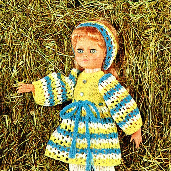 PDF Vintage 1970s Sheena Dolls Clothes Knitting Pattern Lacy