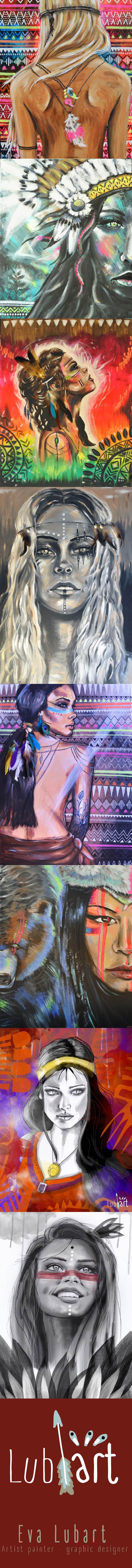 Eva Lubart portraits de femme peinture acrylique, peinture numérique, #journéedelafemme http://eva-lubart.alittlemarket.com