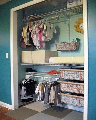 Kids Closets ideas...from http://www.thehousecreative.com/2011/01/stylish-and-organized-kids-closets.html