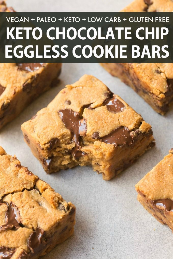 Healthy Chocolate Chip Cookie Bars Made With Eggs And No Sugar