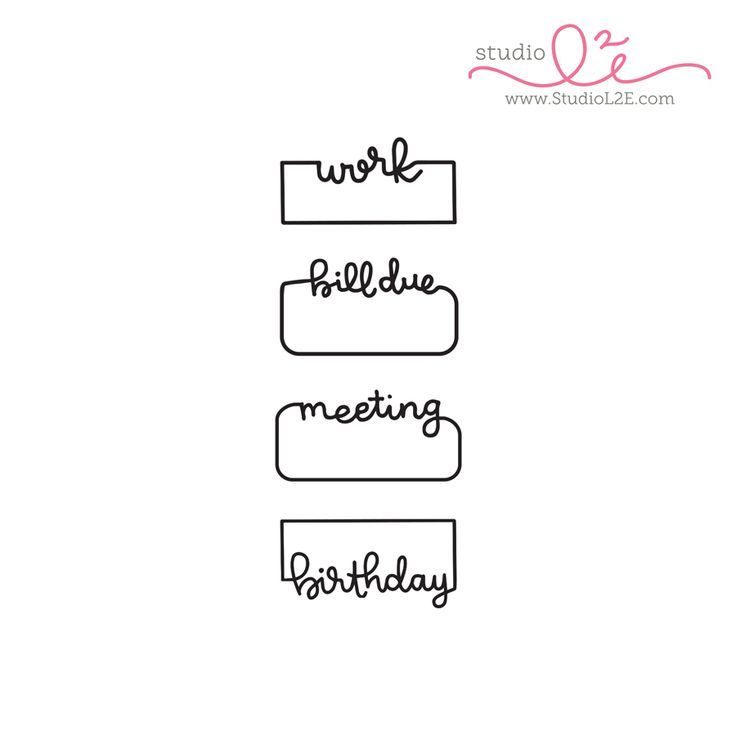 """Written Reminders 1 is a 2x4 photopolymer stamp set that includes the time in 4 hand written reminder borders. Each stamp measures just under 1.5"""""""" wide and approximately .75"""""""" tall"""