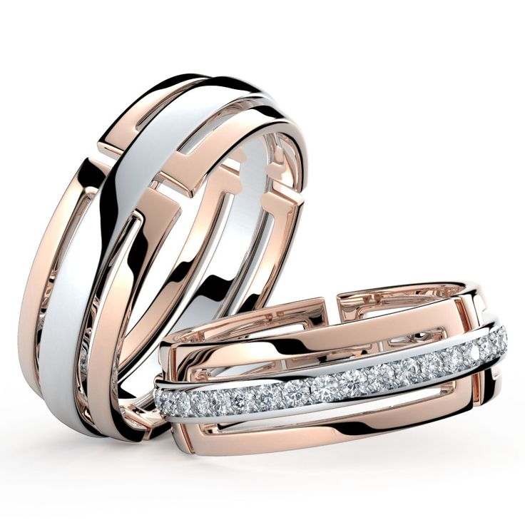 Коллекция 2016 года.  Авторский дизайн этих колец был тщательно продуман нашими специалистами и дизайнерами. Неповторимые линии, безупречная пластика в драгоценном металле и сияющие бриллианты. Все что нужно, чтобы именно Ваша свадьба стала действительно эксклюзивной.  Обручальные кольца из комбинированного золота это не только дань моде, но и способ сочетать обручальное кольцо с украшениями из драгоценного металла любого оттенка.  Обручальные