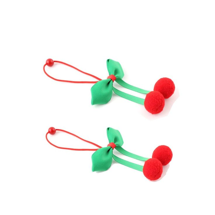 "2x Christmas Girl Toddler Elastic Hair Band - Green Bow & Bobbles   Key Ring #16231-Yx2 12394#{3}. #B 7.5cm/3"" Bow & balls measure 2cm/0.8"". #3 Bow 6cm/2.4"". The mini Key Ring features a spring link clip design making it very durable. 