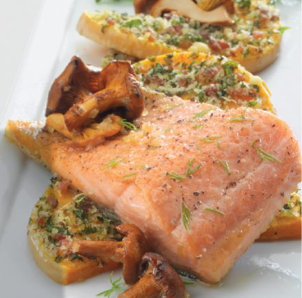 Pan Seared Steelhead Trout with bacon & herb crusted squash and sautéed chanterelles