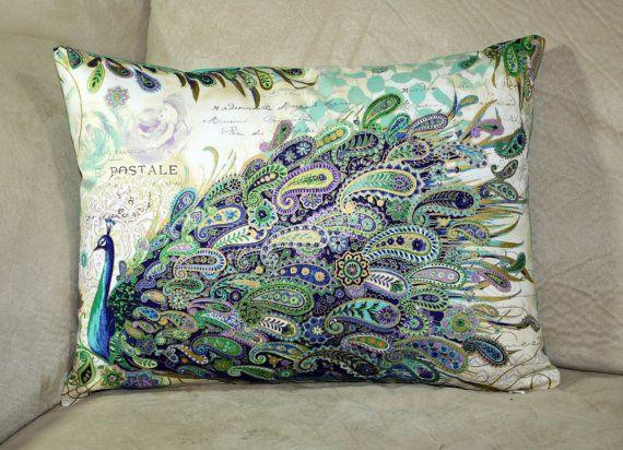 Beautiful paisley peacocks decorative pillow by PrettyPillowsDecor, $21.00