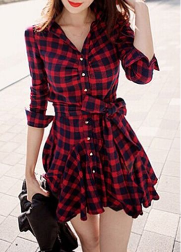 Button Closure V Neck Plaid Flared Skater Dress