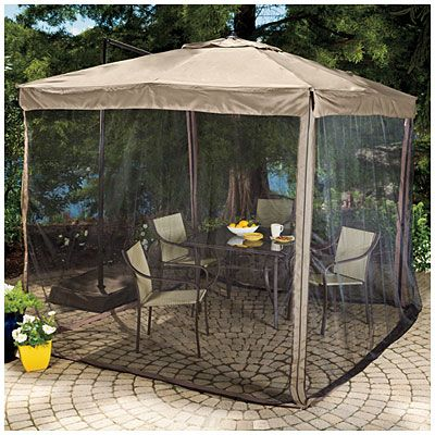 Wilson & Fisher 8.5' x 8.5' Square Offset Umbrella with Netting at Big Lots. Just bought this umbrella for our deck!