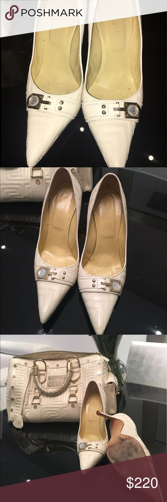 Authentic Versace Couture Greca Quilt Pumps Gianni Versace Couture Ivory/ Cream Greca Quilt Pumps. Good pre-owned condition with minor wear and scuffs on the sole and interior sole. I also have the matching handbag for sale. Check out my closet for a discount when you buy both! Versace Shoes