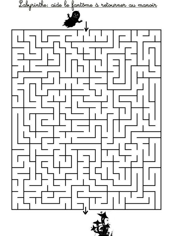 Labyrinthe aide le fant me retrouver la maison hant e - Labyrinthe a imprimer ...