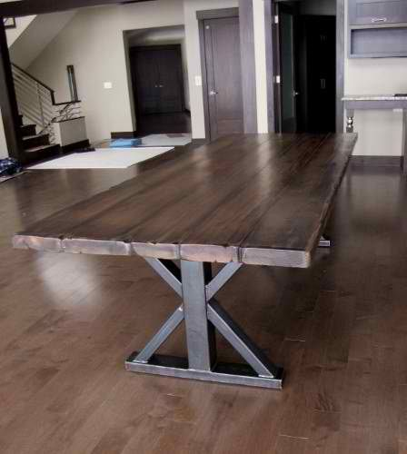 I want this for our dining room table! Solid hickory plank farmhouse top & angle iron double pedestal legs @ http://www.rusticelementsfurniture.com/custom-one-of-a-kind/