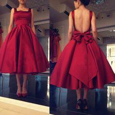 Burgundy Elegant Evening Dresses 2016 Backless Satin Women Formal Party Prom Gowns Bow Vestido de festa Tea Length L260