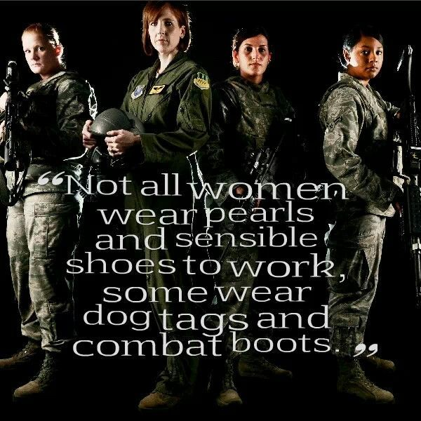 Not all women wear pearls and sensible shoes to work, some wear dog tags and combat boots.