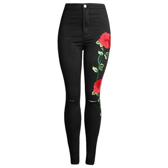 Black Floral Stretch Ripped Women Skinny Jeans Pants