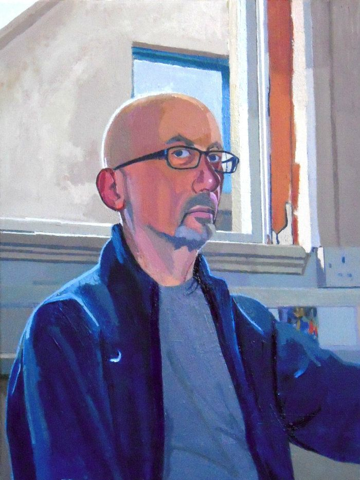 Self Portrait in Studio. Oil on canvas. 70cm x 56cm, framed. For sale.  This self portrait, painted in natural light in my studio, gave me several challenges. I was sitting and looking at a mirror with one of the windows behind me. In contrast to the light coming in, the interior and I were comparably dark, so it was initially difficult to find the right colours to 'translate' what I was seeing and experiencing.  It was also quite hard at first to decide on a range of colours at a particular…