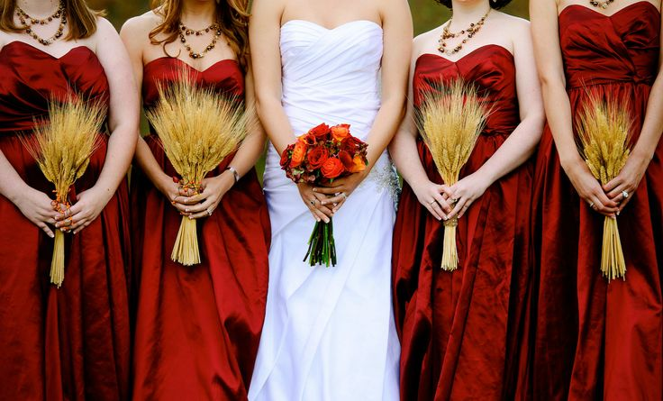 Us with our bouquets wheat bouquets fall flowers fall for Bridesmaid dresses for november weddings