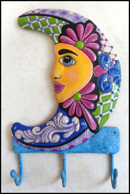 Hand painted metal moon wall hook - Haitian steel drum art  - More tropical designs can be found at www.TropicDecor.com