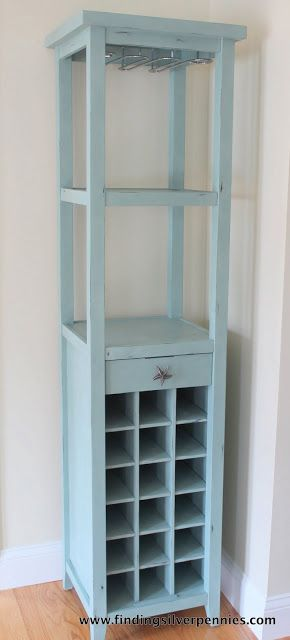 Silver Pennies: A Beachy Wine Rack usig ASCP in Duck Egg Blue