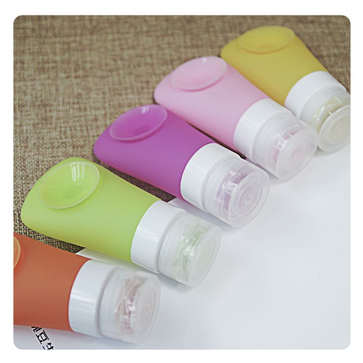 40 ML Mini Cute Portable  Silica Gel Empty Shampoo Bottle With Sucker For Traveler