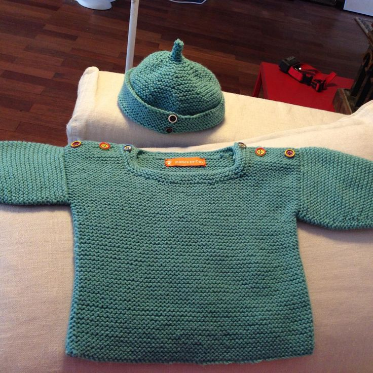 pull et bonnet turquoise