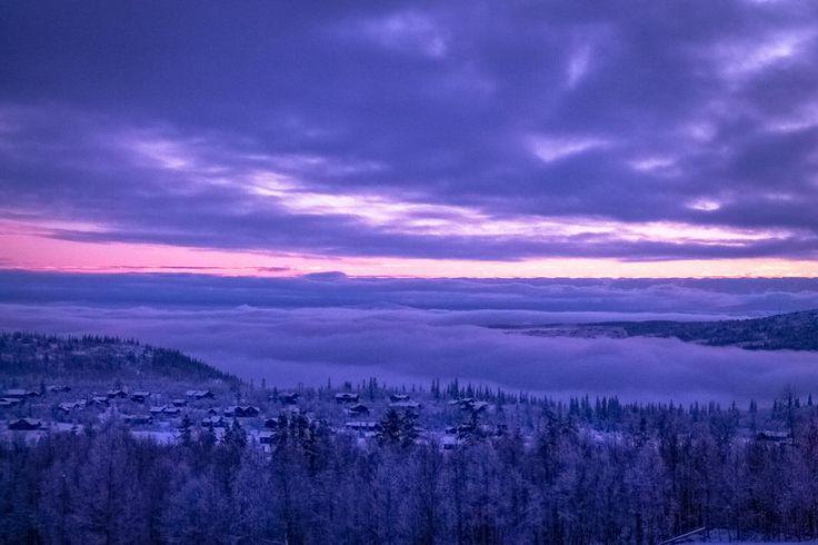 Sunset over Beitostølen, Norway.