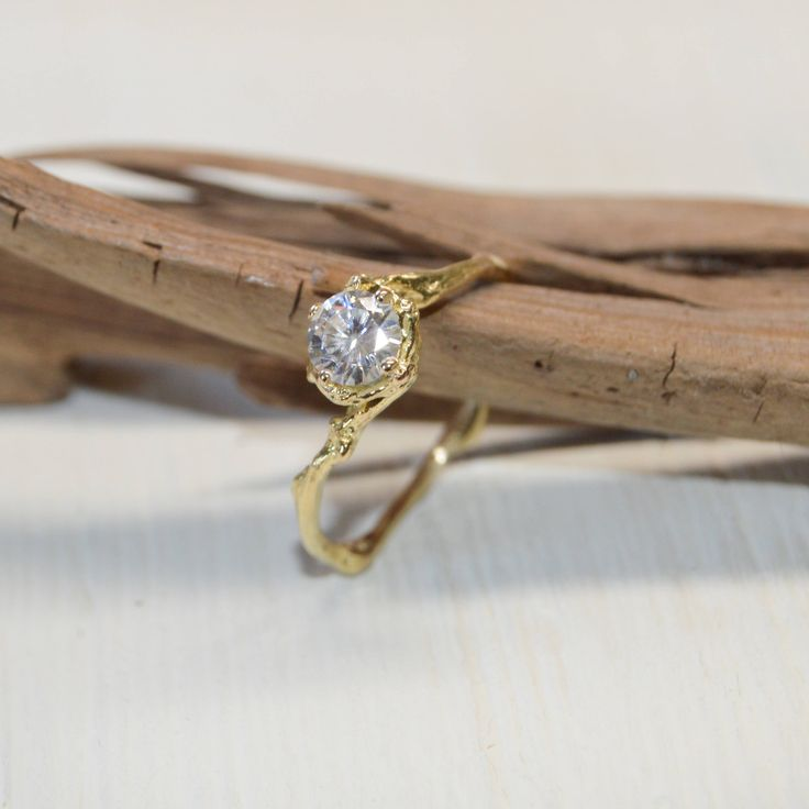 Forever One Moissanite Engagement Ring Solitaire - Twig Engagement Ring with Moissanite in Rose Gold, Yellow Gold, White Gold or Platinum by OliviaEwingJewelry on Etsy https://www.etsy.com/listing/510935328/forever-one-moissanite-engagement-ring
