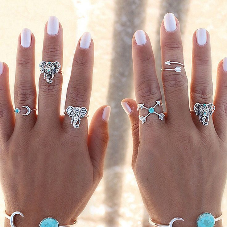 R045 6pcs/Set Elephant Midi Ring Sets for Women Unique Carved Boho Beach Vintage Turkish Punk Arrow Moon Knuckle Ring Anillos
