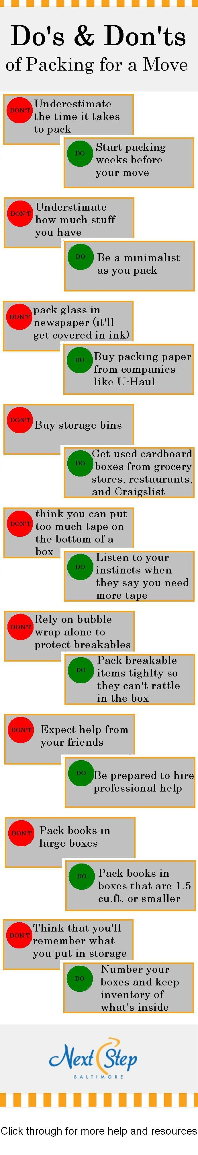 Here's our Do's & Don'ts Checklist for Packing and Moving!
