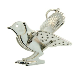 Sterling Silver Fantail Pendant handmade by Sam Drummond