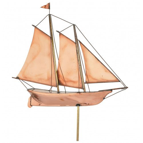 Polished Schooner Weathervane (24 inches x 26 inches)