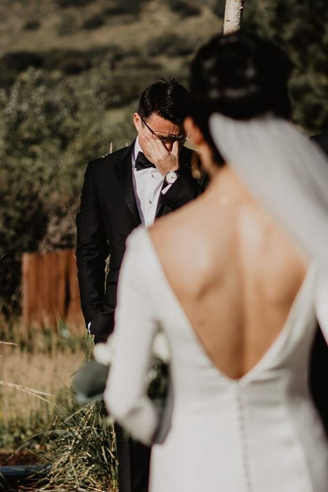 This Minimalist Wedding at The Manor House Includes One of Our Favorite First Looks Ever