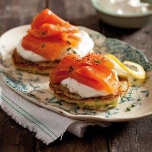 Baby marrow crumpets with salmon