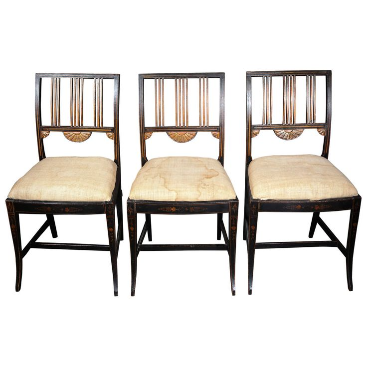 19th Century Set of Six Painted and Decorated Chairs | From a unique collection of antique and modern chairs at https://www.1stdibs.com/furniture/seating/chairs/