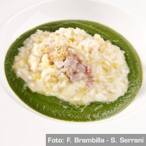 Zuppa di broccolo nero, risotto al limone di Sorrento, triglie marinate allo zenzero. Chef GennaroEsposito  http://www.identitagolose.it/sito/it/ricette.php?id_cat=12&id_art=1514&nv_portata=21&nv_chef=&nv_chefid=&nv_congresso=&nv_key=&nv_pg=1