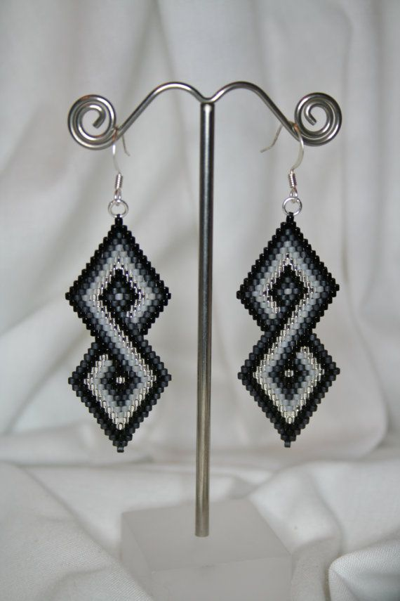 Diamond Infinity - Shades of Black in Brick Stitch Earrings on Etsy, $35.00