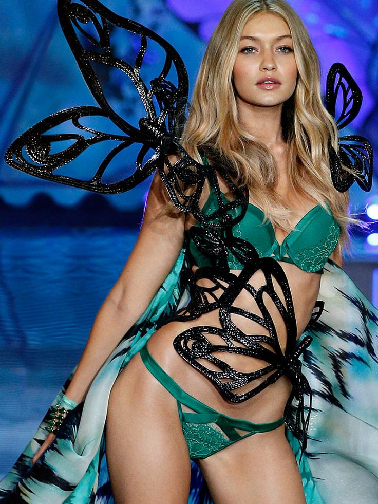 Just one word for Gigi Hadid in her #ExoticButterflies look: SHOWSTOPPER. | Victoria's Secret Satin & Lace Push-Up Bra & Matching Panty