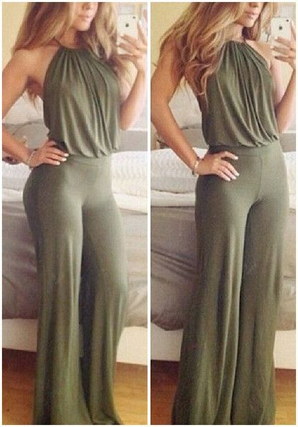 Front view of model in army green halter jumpsuit