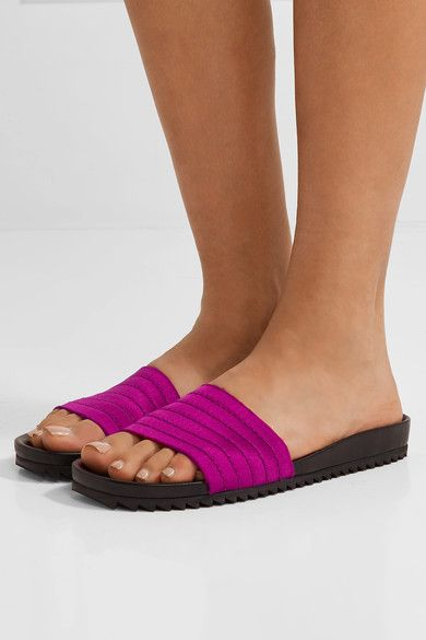 Pedro Garcia - Amparo Quilted Satin And Leather Slides - Magenta - IT36.5