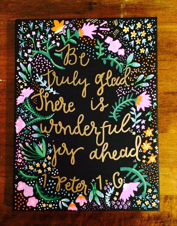 Joy Ahead Canvas Quote Painting Home Decor by HolyCityHailey