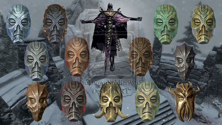 Skyrim: Dragon Priest/Mask V.2 by UnknownSoldier9865 on deviantART - I eventually found and fought for all of these, but I never wore them.  Wish there had been a stand of some sort to display them.  They are very neat looking!