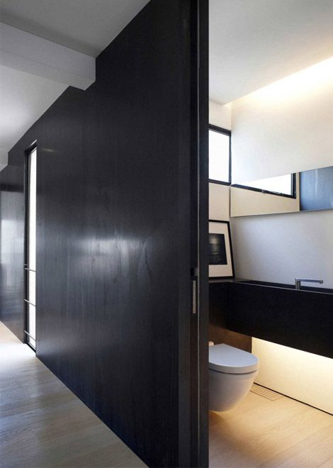 Sliding door is a practical entrance to the smallest room in the house